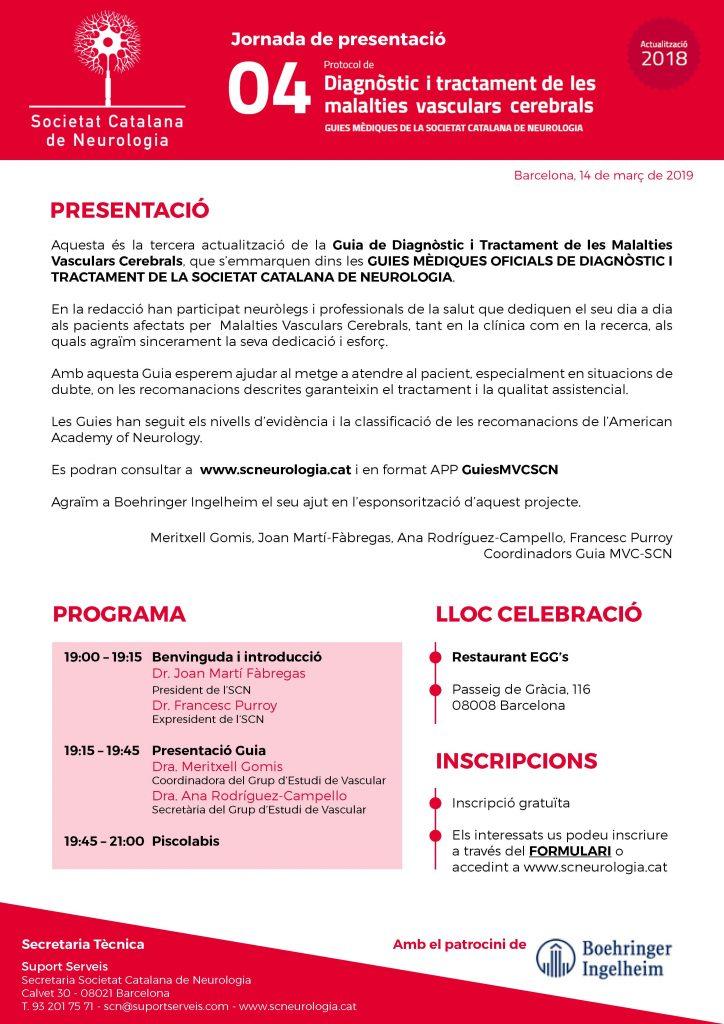 Imatge Programa Presentació Guies Vascular de la Societat Catalana de Neurologia_14 de març de 2019