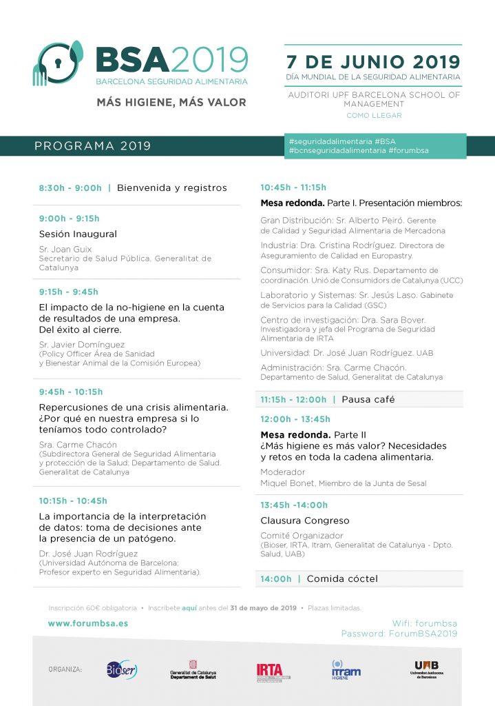 PROGRAMA BARCELONA SEGURETAT ALIMENTÀRIA - BARCELONA 7 DE JUNY DE 2019